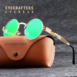 Gafas Gafas de sol del metal del oro de la moda gafas de sol para hombre Ronda góticas Steampunk Gafas de sol de espejo verde para mujer retro