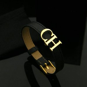 Bilincolor Black Leather Belt With Golden Ch Letter Bracelet For Female Womens Jewellery MX190727