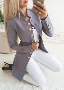 Escudo de manga larga Mujer Streetwear delgado chaqueta de la manera de vestir exteriores solo seno Escudo Mujer Abrigo de otoño del resorte prendas de vestir exteriores de las mujeres