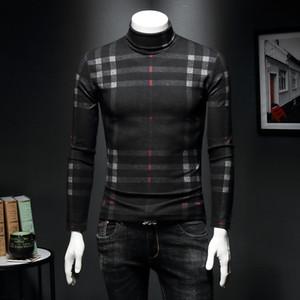 2019 мужская высокий воротник дна рубашка плюс бархат толстые с длинными рукавами футболки плед тонкий теплый золотой зима плотный свитер