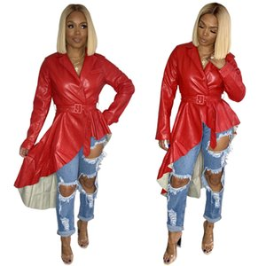 Red Leather Fashion-Frauen-Kleider 2020 Frühlings kurze vordere lange zurück Asymmetrische Rüschen lange Ärmel V-Ausschnitt-Dame-Fashion Short Top Neueste