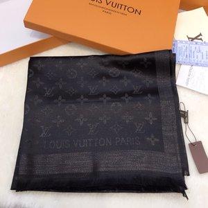 seta cotone migliori designer donne di alta qualità con filo d'oro sciarpa morbida sciarpa Lame lungo lusso classico scialle all'ingrosso 180x70 senza scatola