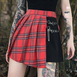 Imprimé Jupes Plaid Flare Jupes Femmes Jupes Designer Vêtements décontractés Femmes Holiday Plaid