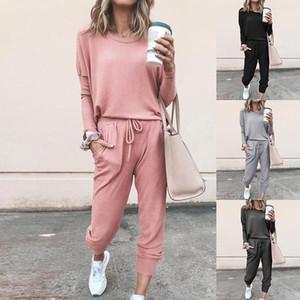 4 di colore S-2XL 2 pezzi delle donne Tuta cappuccio casuale rigonfio Tops + Set Lounge Wear Sport Suit 60.304.934,646916 millions Pants