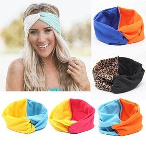 Moda Meninas estiramento torção Headband Turban Patchwork Cor Hairbands Esporte Yoga Envoltório principal Bandana Cabelo Headwear Acessórios 19 projetos