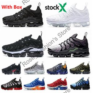 Con Box New 2020 TN più le scarpe Triple Black Metallic argento di pendenza geometrica Volt Uomini Sport Formatori Gioco Royal Athletic scarpe da tennis correnti