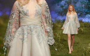 Paolo Sebastian 2019 Neue Abendkleider Perlenapplikationen Partykleider Juliet Langarm Plus Size A Line Abendkleid