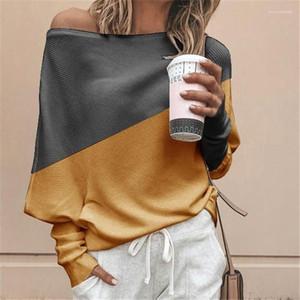 camisetas Pescoço da colher T Moda Womens Long Sleeve T-shirts Designer Costura Cores solto Tops Womens Casual