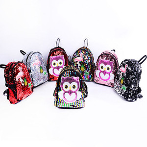 Women Sequin Backpack Flamingos Schoolbag Girls Satchel Cartoon Owl packs Outdoor shoulder bags PU Glitter Party Favor GGA1671