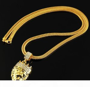 Fashion Hip Hop Necklace for Men Long Gold-color Plated 18K Necklaces Chain Men Jewelry High Quality Men Lion Head Pendants Chains