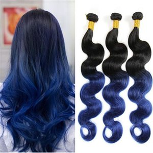 fastion style ombre human hair body wave #black and blue 10-26inch 100g pc blue hair weave 3 bundles ombre hair extensions