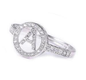 Lettre A-Z anneaux ronds de bande de bagues en diamant pour les femmes cadeaux de jour de mère noël fête d'anniversaire d'argent d'or cadeau 232