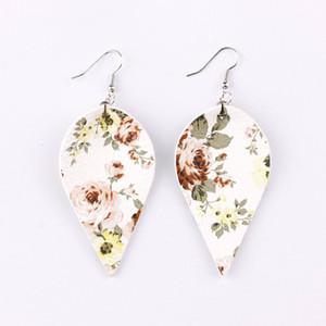 FASHION- Fleur Imprimé feuille en cuir Dangle Boucles d'oreilles pour femmes Feuilles de style bohème Boucles d'oreilles Déclaration pour les femmes d'été Boho Bijoux