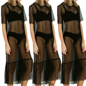 새로운 쉬어 메쉬 맥시 드레스 여성 짧은 소매 장식 조각 폴카 도트 드레스 블랙 관점 Sundress 여름 높은 허리 비치 드레스