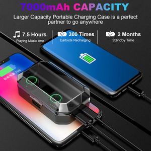 Беспроводные сенсорные Earbuds шумоподавление T9 TWS Правда бинауральные 5,0 Bluetooth наушники 7000mAh IPX7 водонепроницаемый стерео гарнитура Спорт