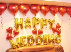 16 '' 13pcs / set HAPPY BIRTHDAY Alphabet Foil Lettre Ballon Ballons bricolage ballons heureux de fête d'anniversaire Ballons Décoration de mariage