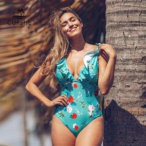 CUPSHE Teal Floral volantée à encolure en V d'une seule pièce Maillot de bain sexy lacent rembourré femmes monokini 2020 fille plage maillot de bain Maillots de bain MX200613