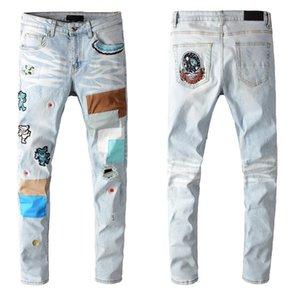 Erkek Jeans Stilist Ayı Nakış Denim Moda Yaz Fermuar Delik Erkekler İnce Pantolon Hip Hop Elastik Jean
