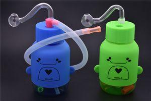 Mini Bong Épaisses têtes de verre épaisses en verre Bubbler Oil Rig Bouteille en plastique mâle de 10mm Bong à eau avec tuyaux de tuyau de brûleur en verre de 10mm