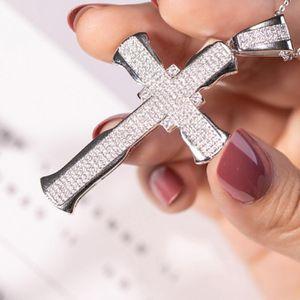 Kadınlar Erkekler Düğün Takı Lüks Big Çapraz kolye açacağı 240pcs Elmas 925 ayar gümüş haç kolye Taş Kolye
