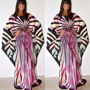 BAIBAZIN Africano Riche Vestido Mulheres Imprimir Padrão manga comprida Sul moda americana zebra listrado mangas morcego vestido