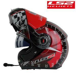 LS2 FF370 Modular capacete da motocicleta fone de ouvido Bluetooth Flip Up interfone Capacete LS2 Corrida handfree Casco Moto