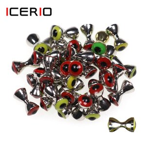 Fishing Fishing Lures ICERIO 10PCS 3D Realistic Solid Dumbbell Fish Eyes Fly Tying Materials Sunken Brass Barbells Beads Pseudo Eyes