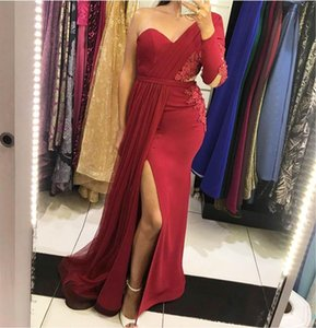 Elegant Mermaid Evening Dresses One Shoulder Long Sleeve Burgundy With Appliqued Prom Party Gowns