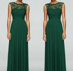 Dark Green Tulle Long Bridesmaid Dresses 2020 Crew Neck Lace Top Floor Length Plus Size Wedding Guest Maid Of Honor Gowns Vestidos BM1504