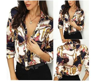 Golden Chain Impreso de diseño Camisas ocasionales de las mujeres elegantes camisas sueltas mangas larga de la solapa del cuello mujeres de la manera camisas