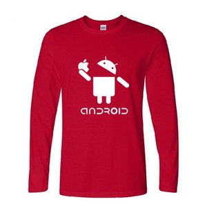 Mens designer t shirts Spring Best seller Europe and the United States long sleeve Android Android robot printing mens clothing