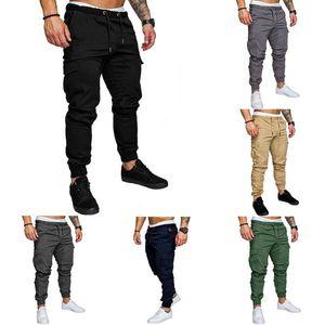 SHUJIN Plus Size 4XLMen Pantalones Hip Hop Harem Joggers Moda Sólido Cintura Elástica Pantalones delgados Bolsillos casuales Pantalones de chándal para hombre Y19061001