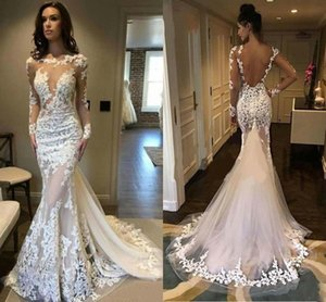 Classy Berta Mermaid Wedding Dresses Backless Illusion Bateau Neck Long Sleeves Sexy Lace Bridal Gowns Tulle robes de mariée