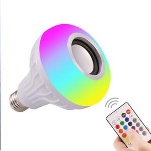 스마트 램프 SpeaKer LED 빛 RGB 무선 블루투스 벌브 램프 음악 24 키 리모컨 Dimmable 12W 음악 플레이어 오디오 재생