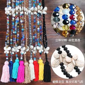 Europee e americane nuovo a mano nappa transfrontaliera perline color cristallo ciondolo femminile turchese arco maglione catena