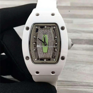 Top 037 Ladies watch Swiss Automatic 28800vph Sapphire Diamond Dial Senior White Ceramic Womens Watch See-through case back Rubber Strap