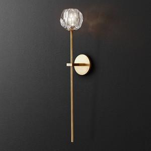 Retro RH K9 Kristal Shades G9 Duvar Lambası Amerikan Başucu Sconce Işıklandırma Luster Salon Duvar Işık