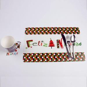 6 piezas 42x28 cm Feliz Navidad estera de mesa + 6 piezas Coaster Natal Noel Pad Placemat Año Nuevo decoraciones de Navidad para el hogar Hotel Cafe Y18102609