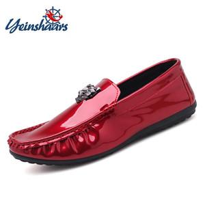 YEINSHAARS Printemps Automne En Cuir Verni Hommes Mocassins Léopard Tête Boucle Slip-On Casual Chaussures De Mariage Chaussures Zapatos De Hombre