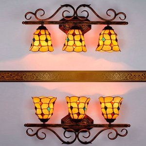Three bulb Tiffany wall lamp high quality new stained glass craft interior lamp warm light retro bedroom lamp bedside lamps
