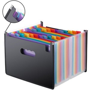 13 24 Pockets Expanding File Folder Works Accordion Office A4 Document Organizer --M25