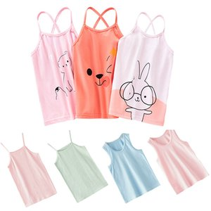 2020 Summer Girl Vest Cartoon Kids Underwear Sleeveless Cotton Girls Undershirts Baby Camisole Shirts for Children Clothing