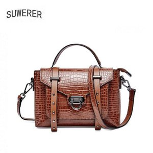 women leather bag 2020 new European and American retro crocodile grain messenger bag handbag Fashion shoulder messenger