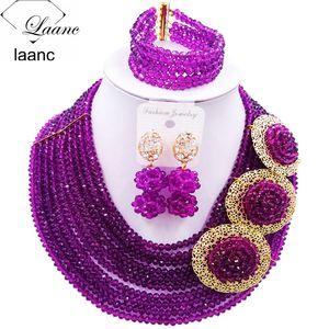 العلامة التجارية Laanc أفريقيا الخرز الأرجواني مجموعة مجوهرات الزفاف قلادة النيجيري الزفاف مجموعات مجوهرات 10R3H019