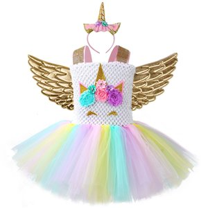 Pageant filles Unicorn manches Casual Party coton Tutu Robe Flower Girls Unicorn Rainbow Dress Halloween junior filles Robes de bal