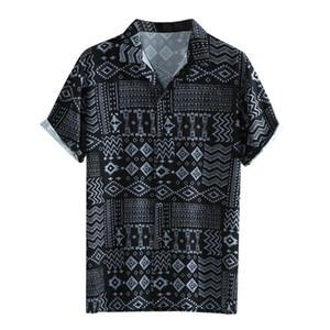 Männer Sommer-Blatt-Druck Hawaiihemd Modische Revers Kurzarmhemd Top Bluse Blusa Masculina Camicia Uomo