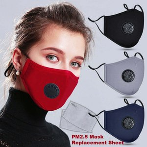 Unisex Cotton Face Masks Fashion Reusable Designer Print Party Mask Anti Dust PM 2.5 Breathable Valve Warm Fabric Mouth Cover with 2 Filters