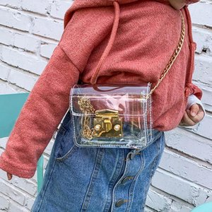 Colorful Jelly Clear Shoulder Kids Bag Women Chain Crossbody Bag Transparent PVC Small Phone Purse Clear Pearl Lock Messenger