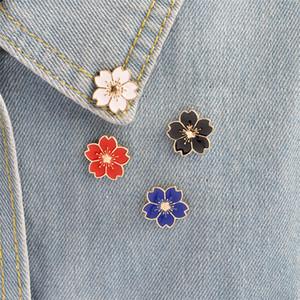 Kiraz Çiçek Altın Renk Broş Pin Düğmeler Iğneler Pin Rozetleri Çanta Için Japon Tarzı Takı Hediye Kızlar Için Broş T350