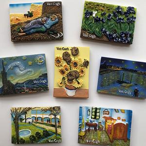 Van Gogh famoso pintura girassol estrela resina adesivos geladeira Imans Ainda vida decoração idéias lembrança fortnite presentes